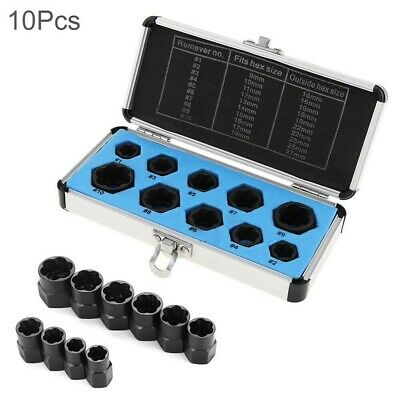10Pcs Damaged Nut Bolt Remover Stud Extractor Set 9-19mm Broken Bolt Removal Kit