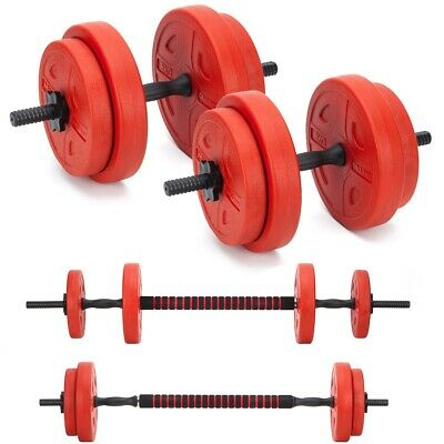 Dumbells Set 20kg Adjustable Free Weights Barbell Bar Spinlock Vinyl Fitness Men