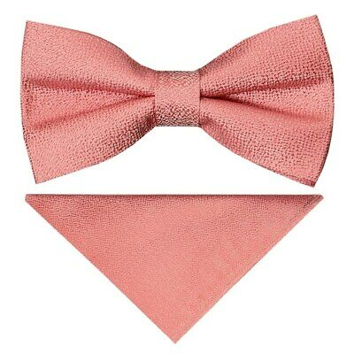 Pre Tied Pink Textured Silk Boys Bow Tie and Pocket Square Set Wedding Bow Tie