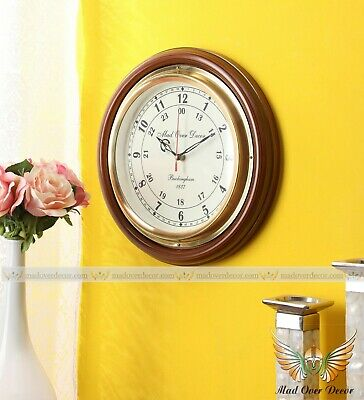 Collectible Nautical Wooden Brass Home Office Wall Decorative Round Wall Clock