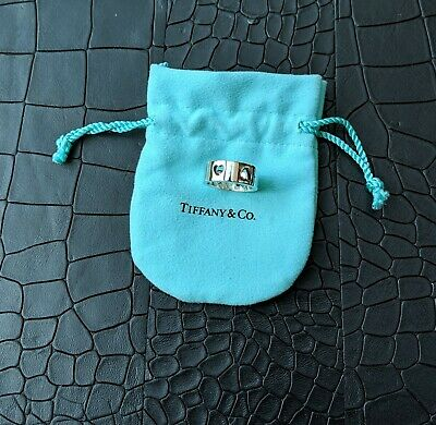 Tiffany & Co. Sterling Silver Stencil Heart Cutout Ring VGC Inc Pouch Size N/O