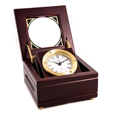Quartz Clock in Mahogany Hinged Box with Glass Top Solid Brass Gimbal