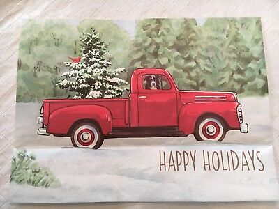 Old Truck With Christmas Tree.Vintage Old Red Pickup Truck With Christmas Tree Print Only Fits 8x10