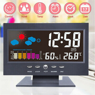 LCD Large-Screen Alarm Clock Digital Thermometer Hygrometer Weather Monitor