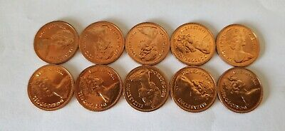 1982 UNCIRCULATED HALF PENNY PIECE.1982 1/2P COIN X10 Bundle