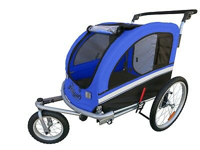 MB Booyah Large Pet Dog stroller and Bike Bicycle Trailer with Suspension Blue