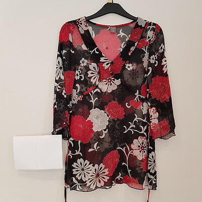 Ladies Womens TU Top Size 10 Black Floral 3/4 Sleeve Drawstring Blouse Long