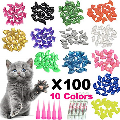 100pcs Cat Nail Caps/Tips Pet Cat Kitty Claws Covers Control Paws 10 Nails Caps