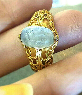 Ancient Crystal Intaglio Horse Solid Gold 22k Roman Ring for secra987