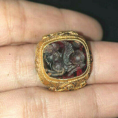 Ancient garnet IntaglioLeaping Sphinx  Solid Gold 22k Ring