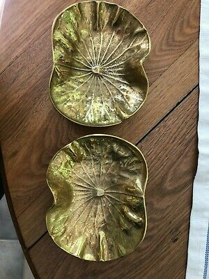 Virginia Metalcrafters, Brass Lotus Leaf Dish, 3-24, 1948 Signed