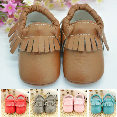 Newborn Baby Boy Girl Soft Sole Pram Shoes Moccasin Trainers Pre-walker 0-18M