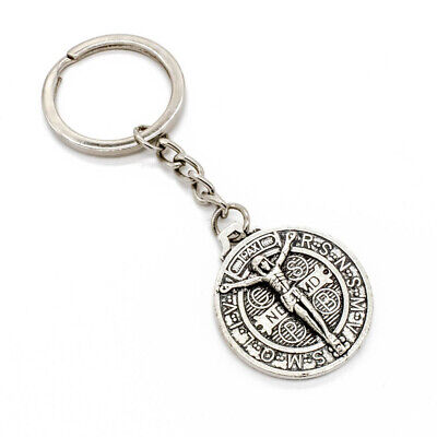 Silver Tone Jesus Crucifix Cross Saint St Benedict Medal Pendant Key Chain Ring