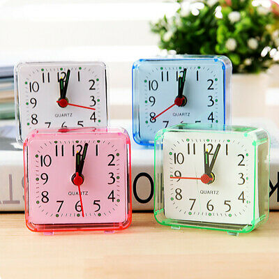Square Small Bed Compact Travel Quartz Beep Alarm Clock Cute Portable f