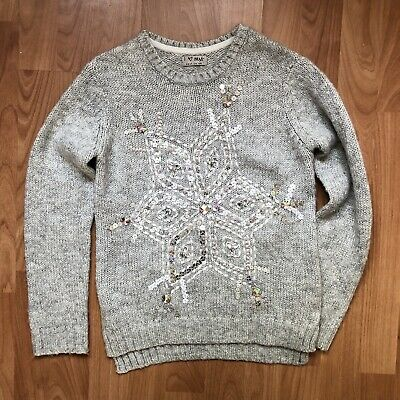 Next Girls Grey Christmas Winter Knit Jumper Snowflake Sequin Age 9 Years Vgc
