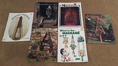 Lot of 6 Vintage 70's Macrame Books Hangers Hang ups Mad about Magic Portraits