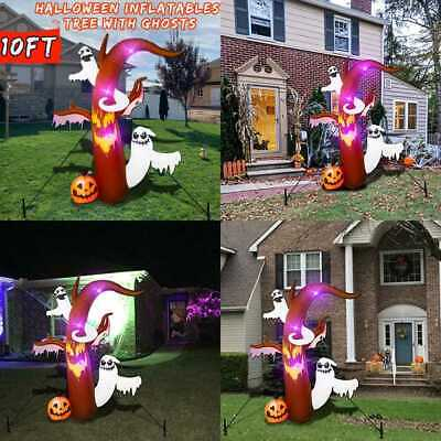 10 Ft Halloween Inflatable Tree W Ghosts Pumpkin LED Lights Blow Up Yard Outdoor