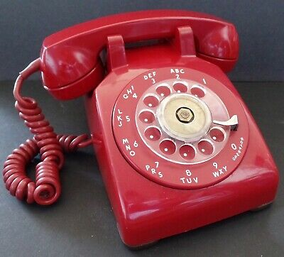 Vintage Red 1959 Western Electric C/D 500 Rotary Dial Desk Telephone Phone