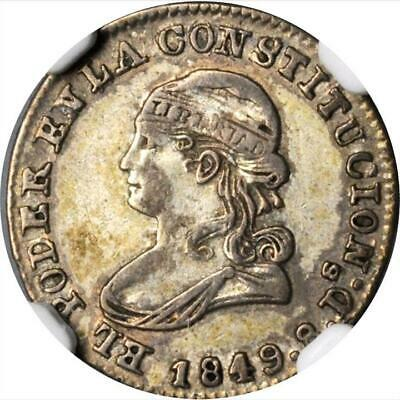1849 GJ Ecuador 1/2 Real, NGC VF 35, Quito Mint, KM 35, Scarce