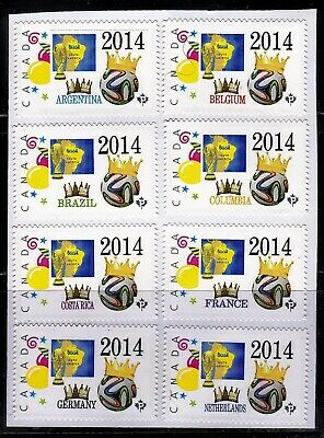 2014 FIFA Soccer Cup in Brazil - set of Group of 8 -Picture Postage