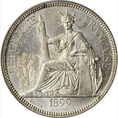 1899 A French Indo China 1 Piastre, PCGS MS 62, KM 5a.1 Lec 281 Brilliant White
