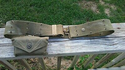 VINTAGE WW2 KOREAN WAR 1953 US ARMY MEDICAL BANDAGE POUCH BELT 44 Inches