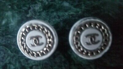 Lot of 2 Vintage white gold  CC Logo chanel Buttons 20 mm