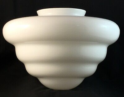 Art Deco White Stepped Glass Beehive Shaped Light Lamp Shade