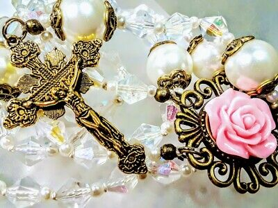 Beautiful Antique Pink Rose Cameo AB White Crystal & Pearl Bead Catholic Rosary