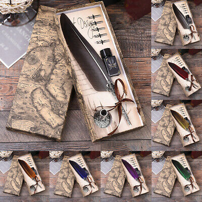 with Gift Box Feather Pen + Ink  & 5 Nibs Vintage Quill Dip Pen 7Colors