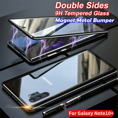 Magnetic Metal Bumper Double Tempered Glass Samsung Galaxy Note 10+ Plus 5G Case