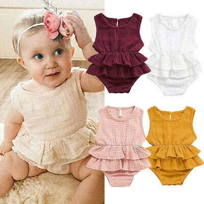 Toddler Baby Girl Ruffle Cotton Romper Bodysuit Jumpsuit Clothes Summer Outfits