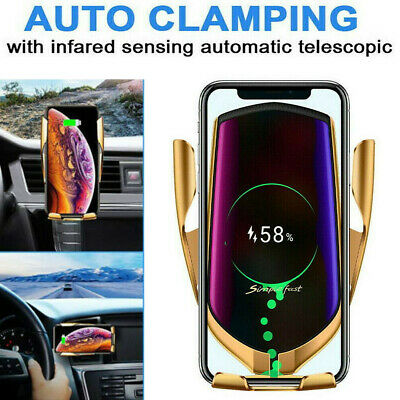 New Automatic Qi Wireless Car Charging Charger Mount Clamping Vent Phone Holder