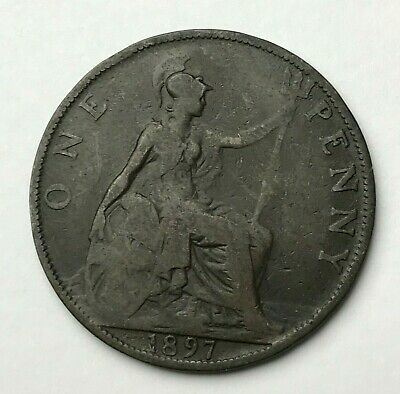 Dated : 1897 - One Penny - 1d Coin - Queen Victoria - Great Britain