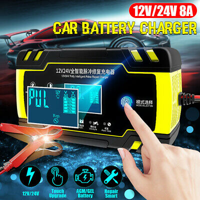 Auto Car Battery Charger 12V/24V 8A Intelligent Motorcycle Pulse Repair Starter