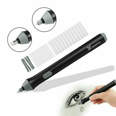 Electric Pencil Eraser Kit with 22pcs Rubber Refills Highlights Sketch Drawing