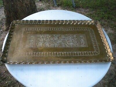 "Vintage Large 38"" x 22"" Scalloped Heavy Brass Serving Tray Coffee Table 13lbs"