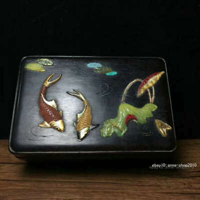 14.5CM Chinese Lobular rosewood Wood Carving Fish Storage box Jewelry box QQQ