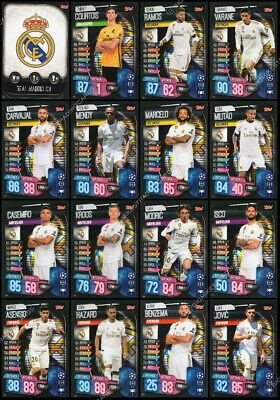 MATCH ATTAX 2019/20 19/20 REAL MADRID CF FULL 16 CARD TEAM SET - inc BADGE