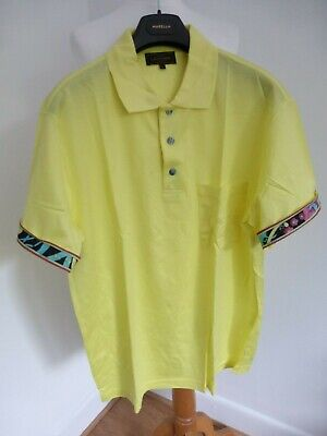 Vintage 90s New Leonard Homme Paris yellow pattern polo tshirt L NEW