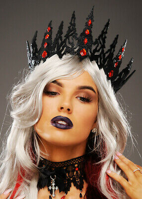 Womens Wicked Queen Gothic Black Glitter Crown