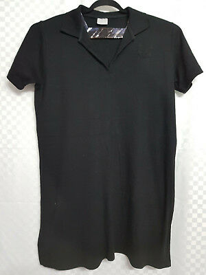 Ladies CLASSICS Long Line Top Size 22 Black Cotton Short Sleeve Collared Casual