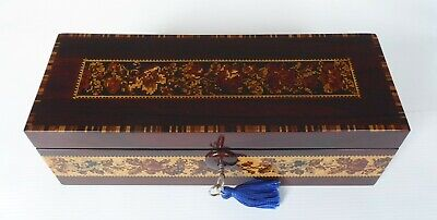 Antique Floral Patterned Rosewood Tunbridge Ware Glove Box