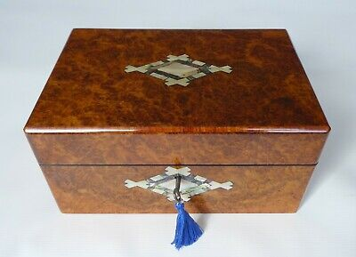 Antique Walnut Burr, Tulipwood, Mother of Pearl & Abalone Jewellery Box