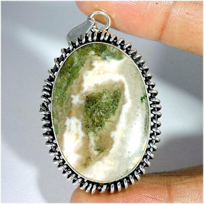 Natural Moss Agate Cabochon Silver Plated Pendant Jewelry Gemstone A37-91