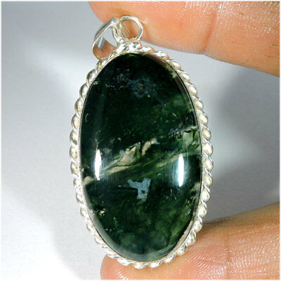 Natural Moss Agate Cabochon Silver Plated Pendant Jewelry Gemstone A37-95