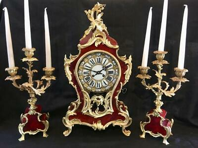 Antique boulle clock French bombe cased garniture large 21""