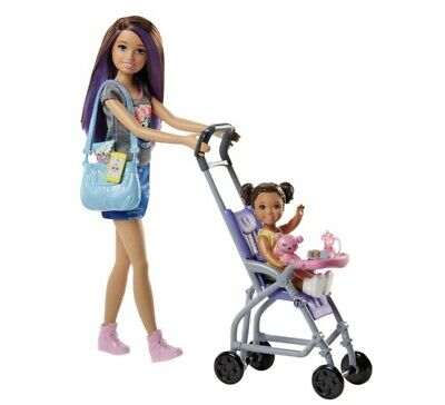 Barbie Skippers Babysitter Stroller Playset With Baby Pushchair And Accessories