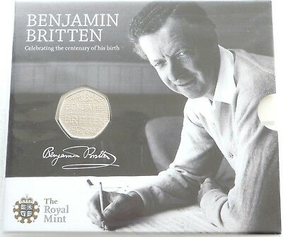 2013 Royal Mint Benjamin Britten 100th Anniv 50p Fifty Pence Coin Pack Sealed