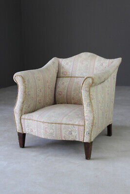 Antique Vintage Floral Upholstered Small Armchair Fireside Easy Chair